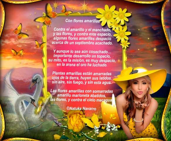 Con flores amarillas